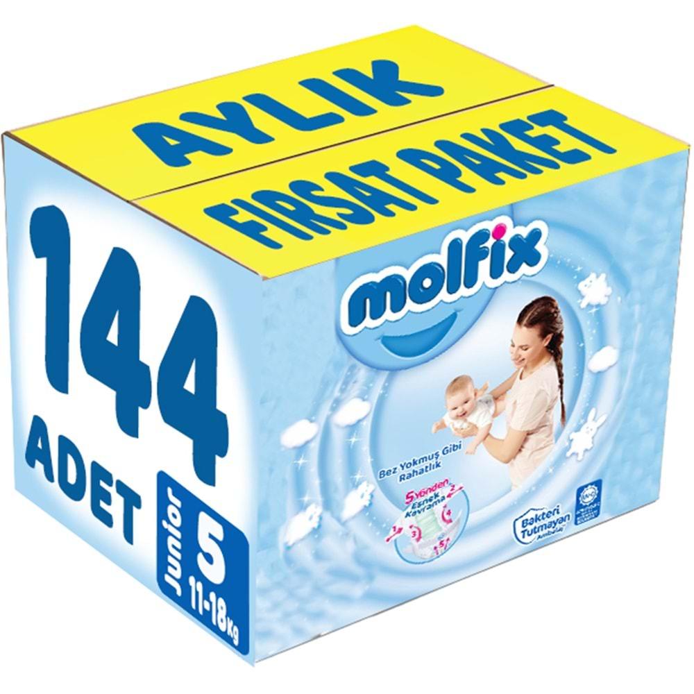 Molfix Bebek Bezi Beden:5 (11-18Kg) Junior 144 Adet Aylık Fırsat Pk